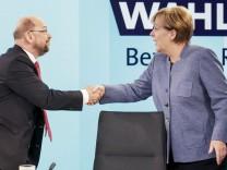 Bilder des Tages Berliner Runde im ARD Hauptstadtstudio Die CDU Parteivorsitzende und Bundeskanzler
