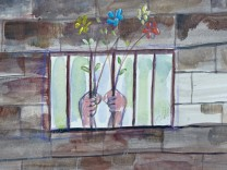Kunst aus Guantánamo: Untitled (Hands Holding Flowers Through Bars)