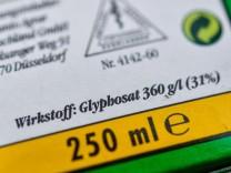 Glyphosat-Angabe auf einer Packung