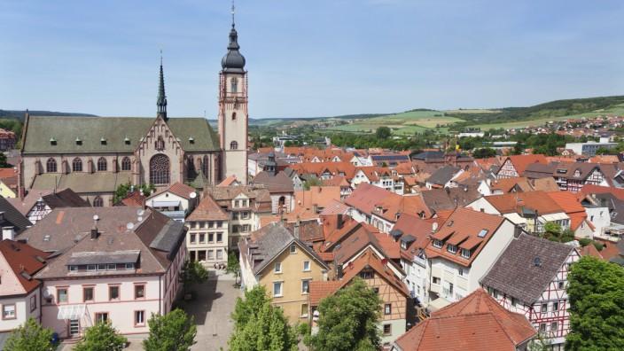 Stadtkirche St Martin Church old town of Tauberbischofsheim Taubertal Valley Main Tauber Distric
