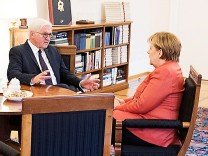 German Chancellor Angela Merkel meets with President Frank-Walter Steinmeier after coalition government talks collapsed in Berlin