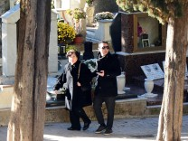 Toto Riina's wife Ninetta Bagarella and his son Salvo arrives for the funeral in Corleone