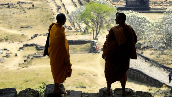 Illustration picture shows monks during a visit to the Vat Phou temple south of Pakse Laos Thursda
