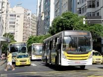 Vehicles traveling on Avenida Nossa Senhora de Copacabana in Copacabana neighborhood Rio de Janeiro
