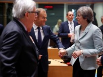 Britain's Prime Minister Theresa May attends a summit at the European Council Headquarters in Brussels