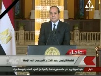Egyptian President Abdel Fattah Al Sisi gives a televised statement on the attack in North Sinai, in Cairo