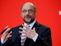 The leader of the Social Democrats Martin Schulz gives a statement at the party headquarter in Berlin
