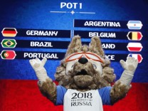 Zabivaka, the official mascot for the 2018 FIFA World Cup Russia, takes part in the 'Behind the scenes of the Final Draw' event prior to the upcoming Final Draw of the 2018 FIFA World Cup Russia in Moscow
