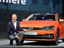 FILE PHOTO: Volkswagen's Herbert Diess in June 2017 with the latest VW Polo model