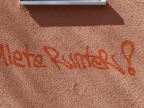 Graffiti 'Miete runter!'