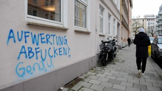 """""""Aufwertung abfucken"""": Sprüche wie dieser im Glockenbachviertel sind in München keine Seltenheit."""