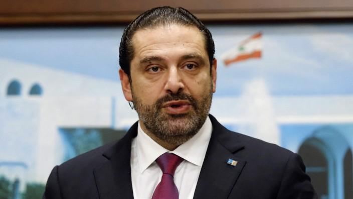 Lebanon's Prime Minister Saad al-Hariri speaks after a cabinet meeting in Baabda near Beirut, Lebanon