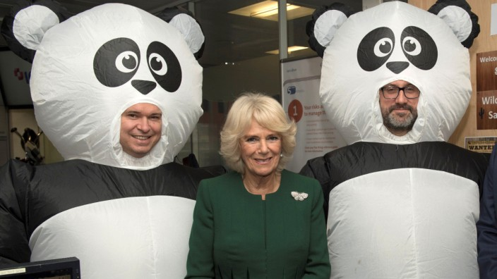 Britain's Camilla, The Duchess of Cornwall, Patron, poses with employees in fancy dress during a visit to ICAP on the broker's annual Charity Day, London
