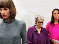 Rachel Crooks, Jessica Leeds and Samantha Holvey speak at news conference for the film '16 Women and Donald Trump' in Manhattan, New York.