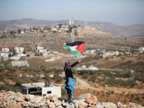 December 8 2017 Nablus West Bank Palestine A Palestinian Children holds a Palestinian flag du