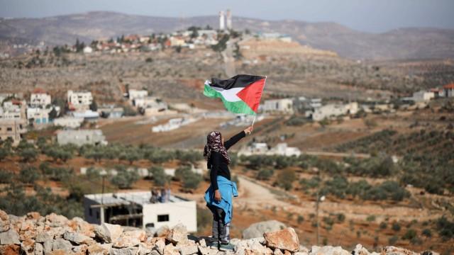 December 8 2017 Nablus West Bank Palestine A Palestinian Children holds a Palestinian flag du