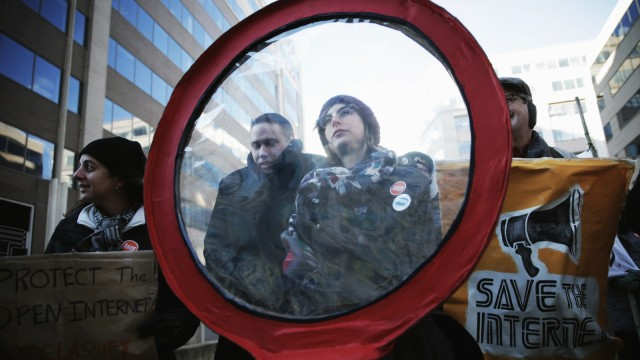 Activists Protest For Net Neutrality Outside Federal Communications Commission Meeting