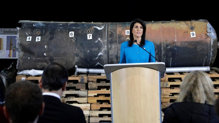 U.S. Ambassador to the United Nations Nikki Haley briefs the media in front of remains of Iranian 'Qiam' ballistic missile in Washington