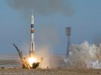 The Soyuz MS-07 spacecraft carrying the next International Space Station (ISS) crew blasts off from the launchpad at the Baikonur Cosmodrome