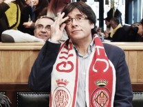 Former Catalan president Puigdemont watches the Girona v Getafe Spanish La Liga soccer match in a bar in Brussels