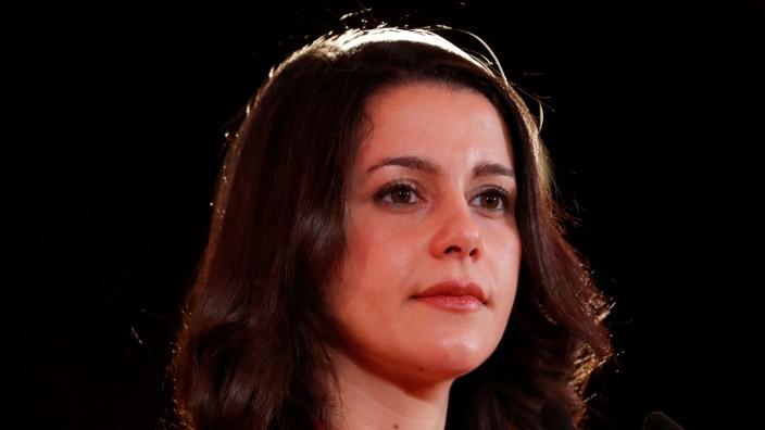 Ines Arrimadas, leader of Ciudadanos in Catalonia attends a press conference in Barcelona