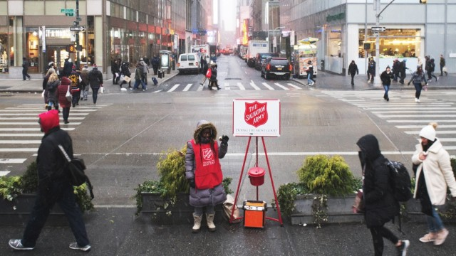 Salvation Army kettle drive in New York A Salvation Army bell ringer outside Bryant Park in New York