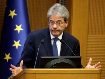 Italian Prime Minister Paolo Gentiloni attends the annual end-of-year news conference at Montecitorio government palace in Rome