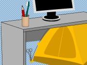 """Mein Kollege sagt """"Ich wohne im Büro"""" Schreibtisch Zelt, Illustration: Astrid Müller"""