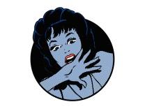 Nahaufnahme des Gesichtes einer geschockten ängstlichen Frau PUBLICATIONxINxGERxSUIxAUTxONLY Jacqui