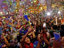 People celebrate New Year at Eastwood mall in Quezon City Metro Manila