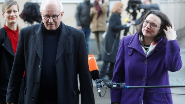 Kauder of the Christian Democratic Union (CDU) and Social Democratic Party (SPD) parliamentary group leader Nahles arrive for talks to discuss forming a government with the Christian Social Union (CSU) and Christian Democratic Union (CDU) in Berlin