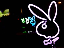 Oct 17 2008 Los Angeles California USA Playboy bunny neon bunny lights at the Playboy Mansion