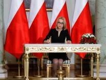 Teresa Czerwinska  Poland's new Finance Minister attends a government swearing-in ceremony at the Presidential Palace in Warsaw