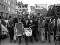 Studenten der Akademie der Bildenden Künste in München Deutschland streiken Protest gegen das Not