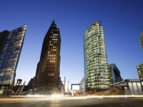 The skyline of the Potsdamer Platz square is pictured in Berlin