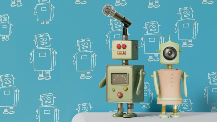 Male robot on sideboard in front of patterned wall paper 3D rendering PUBLICATIONxINxGERxSUIxAUTxHU
