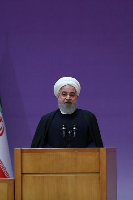 Iranian President Hassan Rouhani speaks during the closing ceremony of the Farabi Award in Tehran, Iran