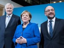 Horst Seehofer, Angela Merkel und Martin Schulz bei der Vorstellung ihrer Gesprächsergebnisse.
