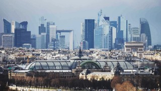 FILE PHOTO: General view of the skyline of La Defense business district as the the Grand Palais is seen in central Paris