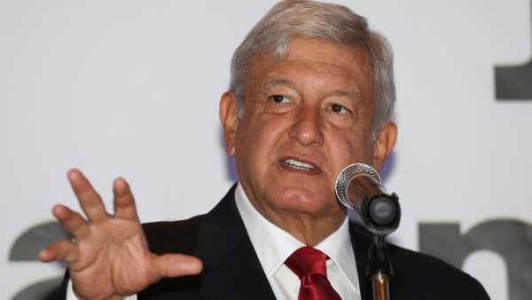 Andres Manuel Lopez Obrador, presidential pre-candidate of the National Regeneration Movement, delivers a speech during an event to present new members of his campaign staff, in Monterrey