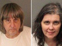 A combination photo of David Allen Turpin and Louise Ann Turpin as they appear in booking photos in Riverside County