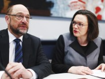 Germany's Social Democratic Party (SPD) leader Schulz and SPD parliamentary group leader Nahles attend a parliamentary group meeting in Berlin