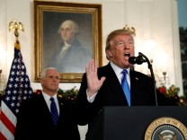 FILE PHOTO: U.S. President Trump gives a statement on Jerusalem in the Diplomatic Room of the White House in Washington