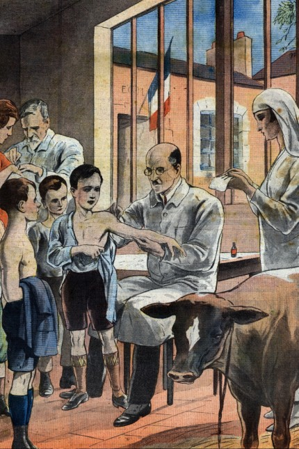 Smallpox vaccination in a French public school. Frontpage of French newspaper Le Petit Journal Illustre. May 12, 1929. Private Collection.