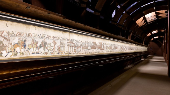 View shows the Bayeux Tapestry, an 11th century treasure that tells the tale of how William the Conqueror came to invade England in 1066, in this undated photo provided by the Bayeux Museum