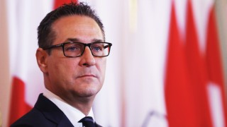 Austria's Vice Chancellor Strache addresses the media after a cabinet meeting in Vienna