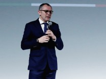 Automobili Lamborghini President and CEO Domenicali delivers remarks after presenting the Urus SUV at a news conference at the Museum of Contemporary Art in Detroit, Michigan