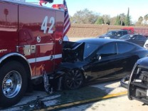 Tesla 'on Autopilot' Slams into CA Apparatus