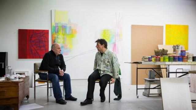 München: David Flynn trifft sich mit Stefan Stefinsky zur Besprechung in seinem Atelier. Tassilo, Streitfeld Projektraum.