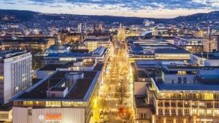 Germany, Baden-Wuerttemberg, Stuttgart, Koenigstrasse, blue hour